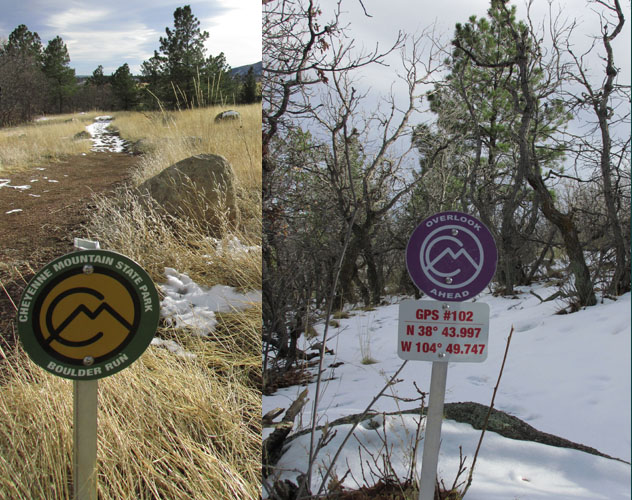 Trail Markers in Cheyenne Mountain State Park