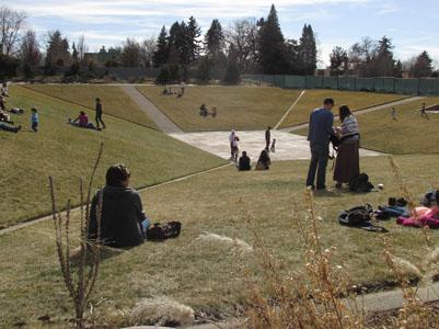 Families on the hills at Denver Botanical Gardens