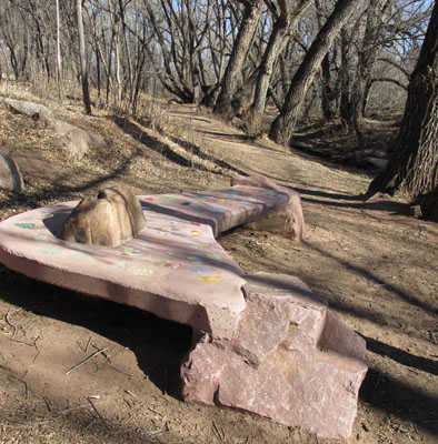 Concrete Couch on Fountain Creek Walk in Manitou Springs