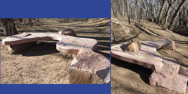 Concrete Couches Along Fountain Creek in Manitou Springs