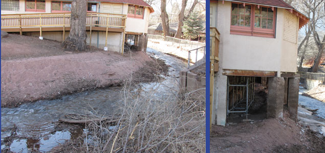 Fountain Creek at Undermined Manitou Springs City Hall