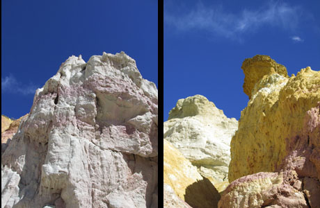 Blue Sky Contrast with Colorful Rock Formations