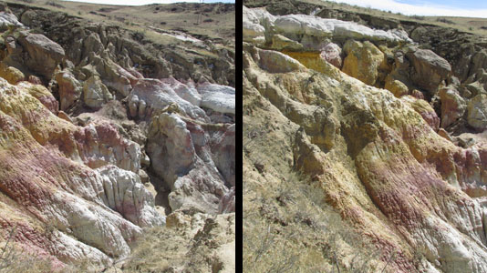 Looking down at Colorful Formations At the Paint Mines