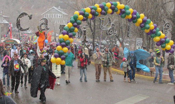 Lining up for Carnivale Parade in Snowy Manitou Springs