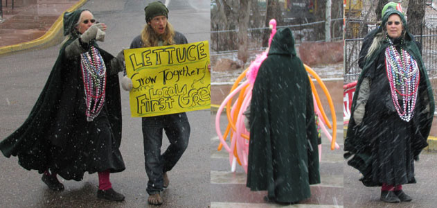 Becky Flamingoed & Lettuce in the Manitou Springs Canrivale