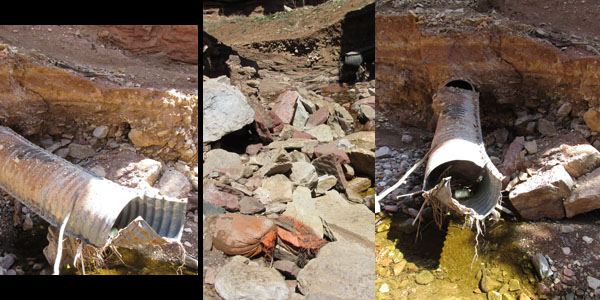 Sandbags & Crushed Drainage Pipes in Williams Canyon