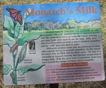 Monarch Butterfly sign at Fountain Creek Nature Center