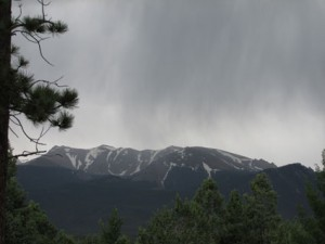 Raining or snowing Pikes Peak near Catamount Reservoir