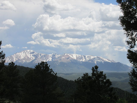 Pikes Peak viewed from Lovell Gulch in Colorado